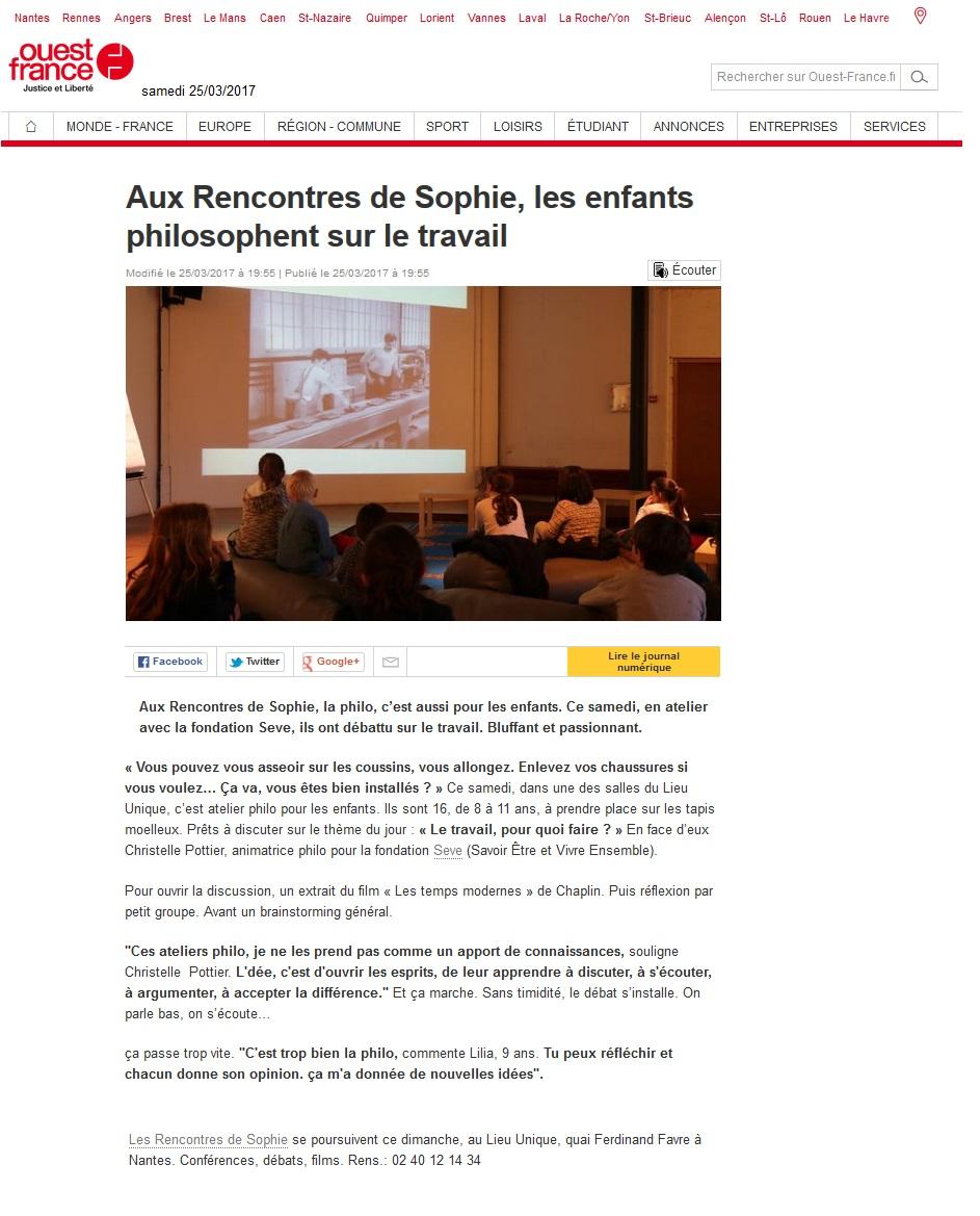 ouest-france Rencontres de Sophie philo enfant 25 mars 2017