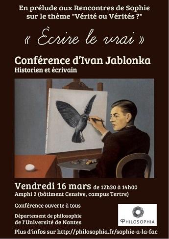 Sophie à la Fac, Ivan Jablonka : « Écrire du vrai », vendredi 16 mars 20018