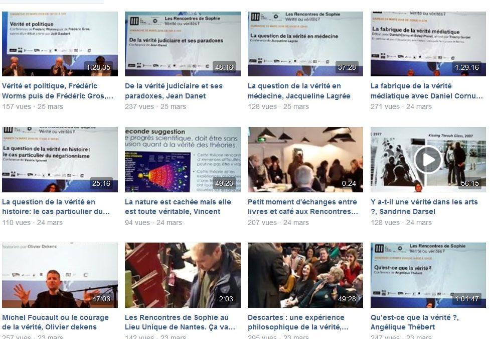Retrouvez les 10 conférences des Rencontres de Sophie «Vérité ou vérités ? » déjà disponibles via la page Facebook de Philosophia