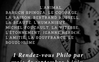 Programme 2018-2019 des Rendez-vous Philo de la Librairie L'Odyssée