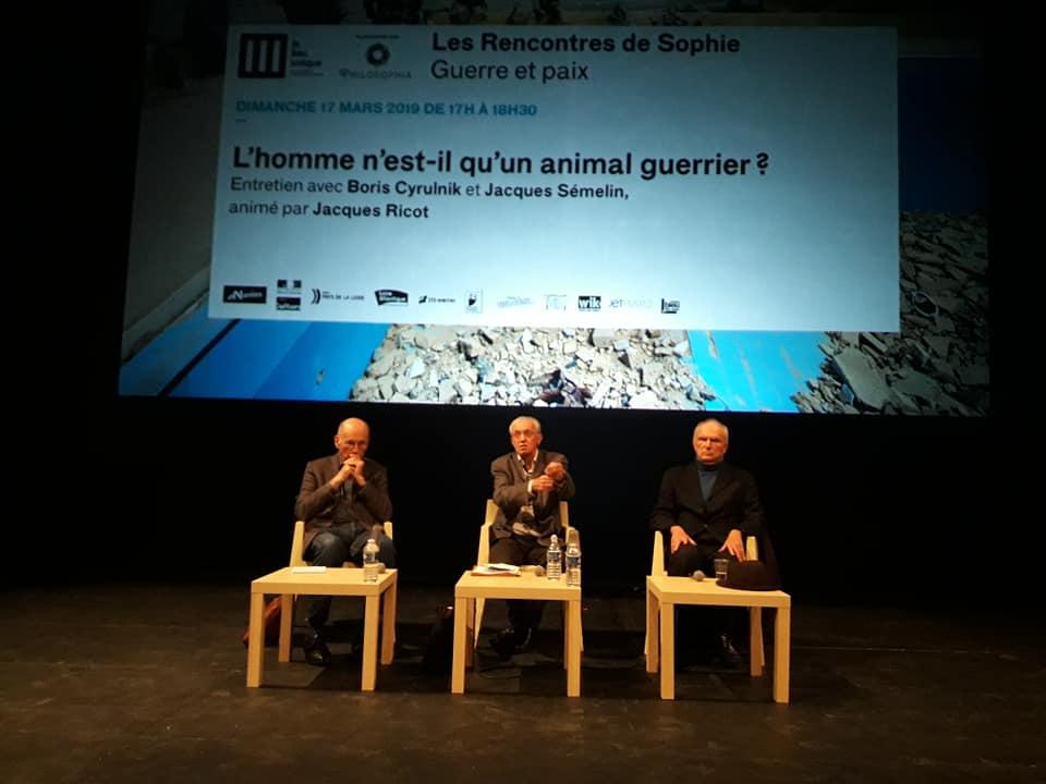 Rencontre sde Sophie Guerre et paix Philosophia Lieu Unique de Nantes cyrulnik sémelin ricot