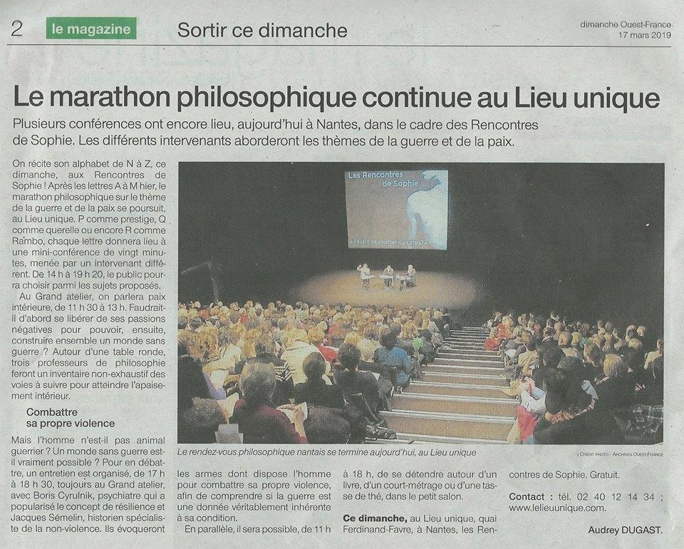 Rencontre sde Sophie Guerre et paix Philosophia Lieu Unique de Nantes ouest france