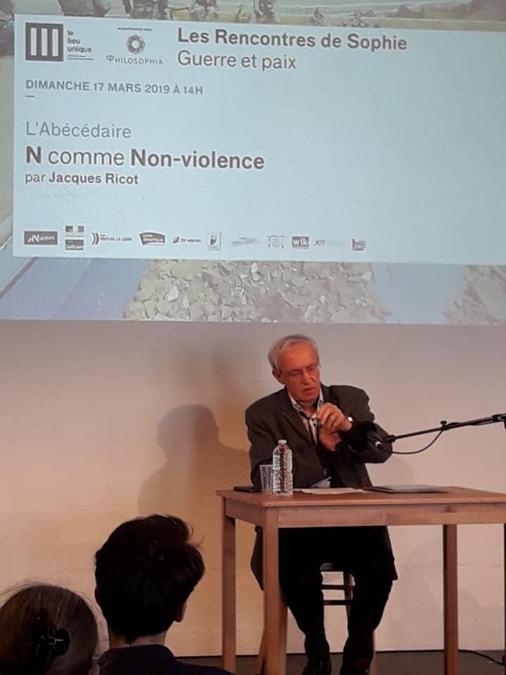 Rencontre sde Sophie Guerre et paix Philosophia Lieu Unique de Nantes ricot