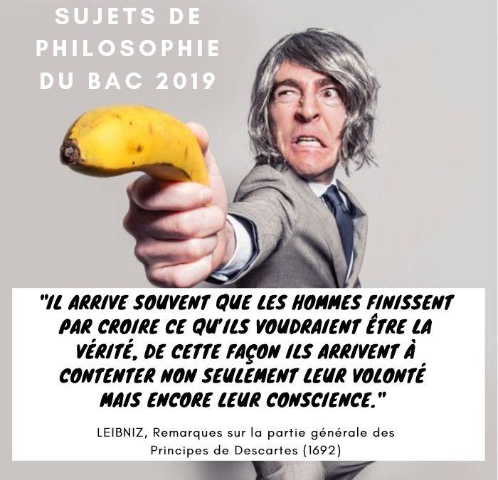 Tous les sujets du baccalauréat de philosophie 2019